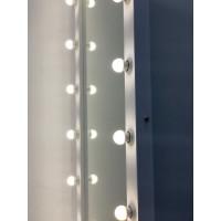 Гримерное зеркало на подставке с колесиками 180x80 черное дерево с подсветкой 18 ламп
